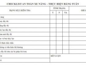 Biểu mẫu checklist xe nâng